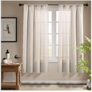 Beige Faux Silk Curtains NWT